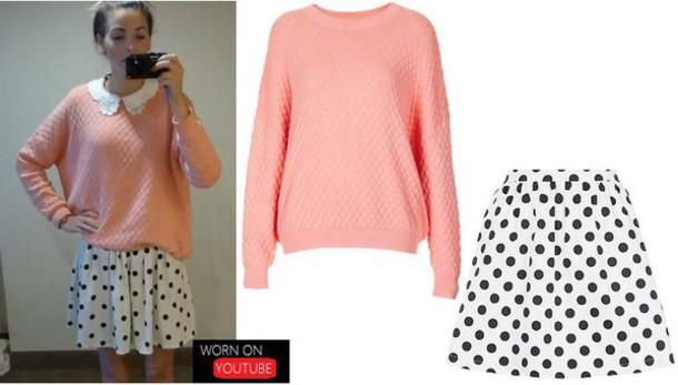 skirt zoella pink sweater polka dots