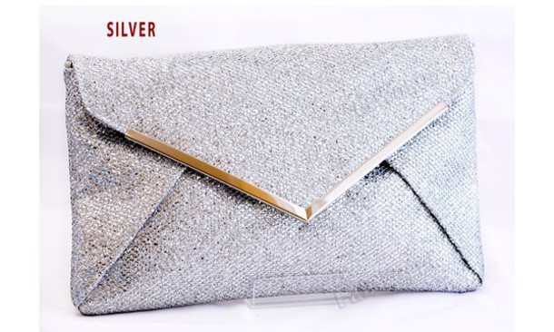 bag, silver, clutch, formal, prom, formal clutch, metallic, silver ...