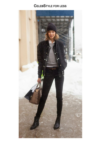 jacket celebstyle for less bomber jacket beanie grey sweater jeans white shirt karlie kloss snake print bag belt chelsea boots