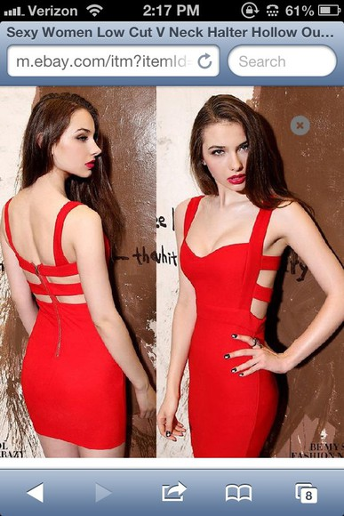 dress bodycon clothes sexy cute cutout red red dress cutouts fitted dress