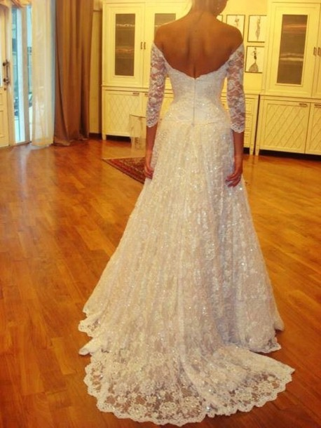 Dress: wedding dress, lace wedding dress, white lace dress, lace ...