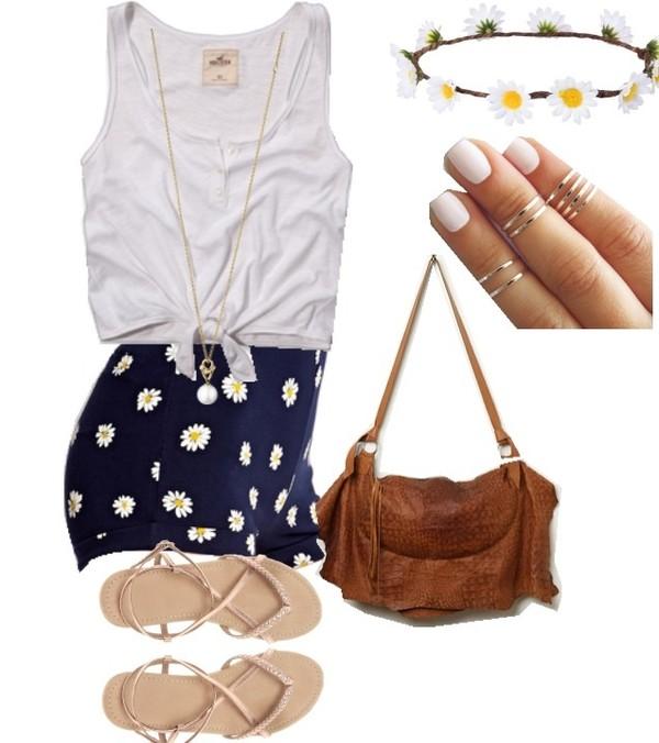 shorts daisy shorts jewels bag belt sunglasses tank top