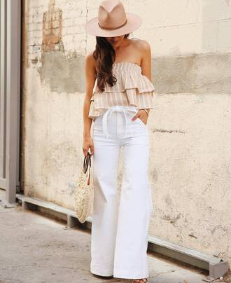 top tumblr bandeau stripes striped top pants white pants wide-leg pants summer outfits felt hat