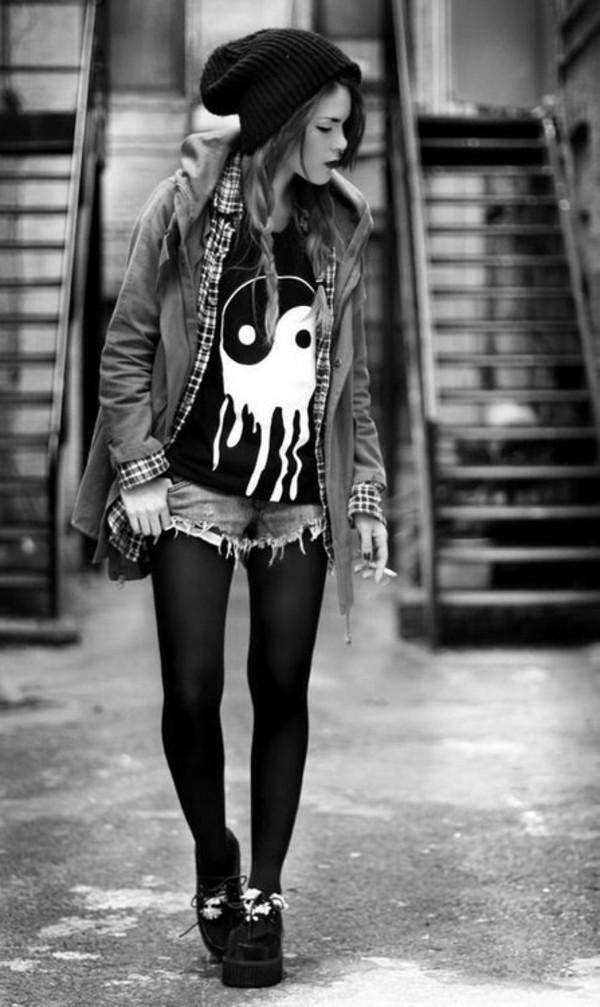 skirt yin yang soft grunge cut off shorts shirt jacket shoes coat grunge blouse top yin yang tshirt ying yang tank top t-shirt black t-shirt pants