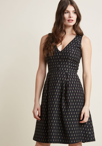 Modcloth dress flare dress sleeveless flare fit black