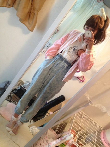 jeans tumblr jfashion lolita cute kawaii pastel asian pink kfashion