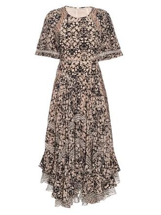 dress maxi dress maxi floral print silk black