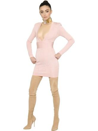 dress mini dress mini knit v neck pink