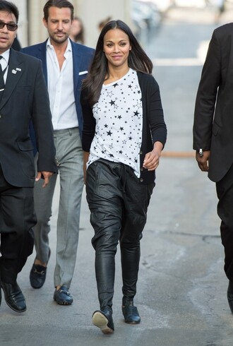 pants top stars leather pants zoe saldana