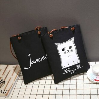 bag cats black fashion style trendy white cute kawaii girly purse handbag teenagers newchic