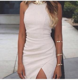 white dress dress slit skirt