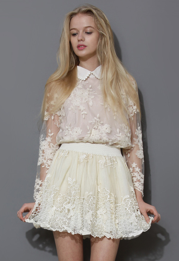 blouse scrolled collar floral crochet top