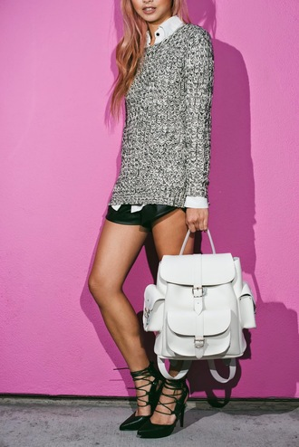 the blvck sheep blogger grey sweater white shirt leather backpack lace-up shoes leather shorts