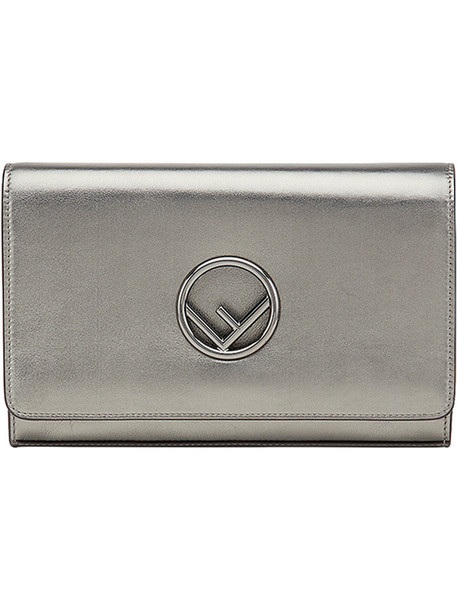 Fendi women bag leather cotton grey