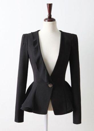 jacket black jacket suit jacket peplum asymmetrical