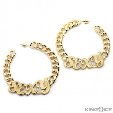 "Gold Plated ""SEXY"" Curb Chain Hoop Earrings"