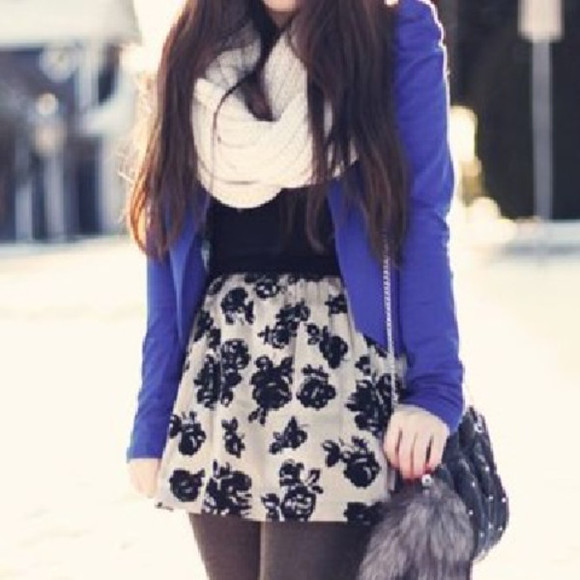 skirt short skirt skater skirt white skirt white flowers black flowers cream skirt pleated skirt cute outfits floral