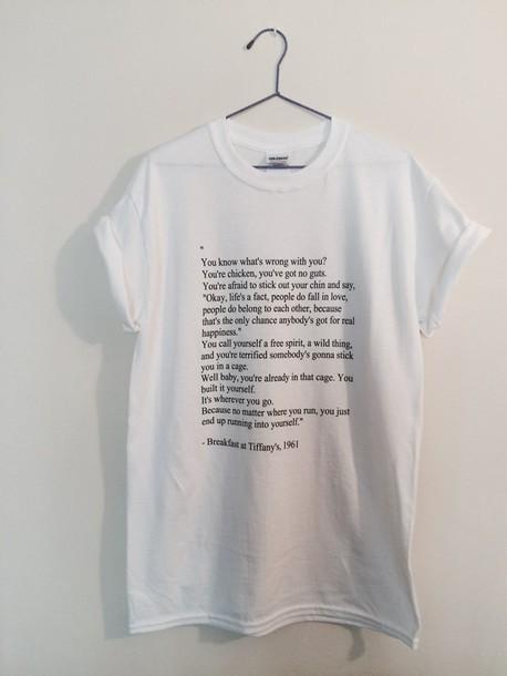 shirt t-shirt breakfast at tiffany's white white t-shirt