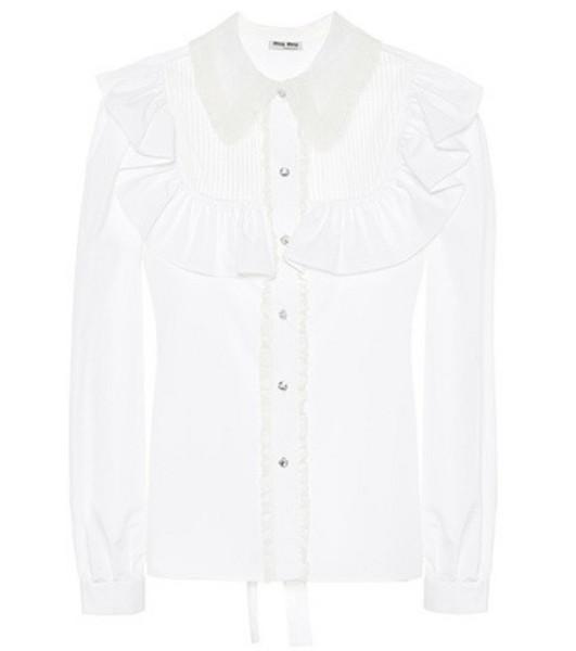 Miu Miu Crystal-embellished cotton blouse in white