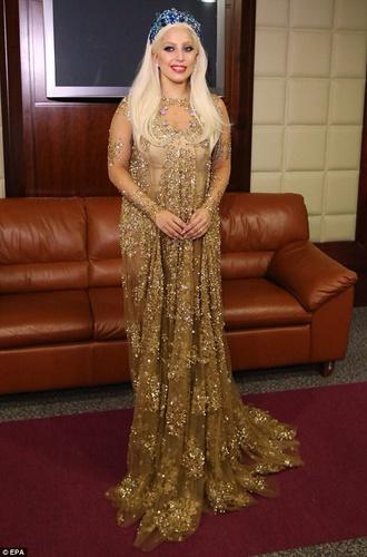 dress golden sheer lady gaga gown dubai