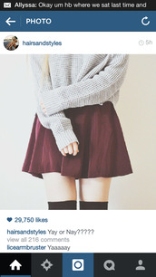 burgundy skirt,knee high socks,oversized sweater,socks