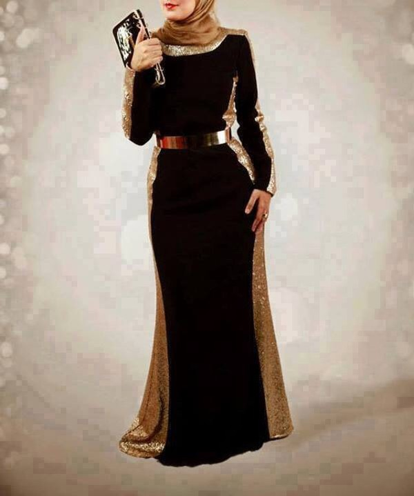 black dress prom dress wedding dress muslim outfit glitter
