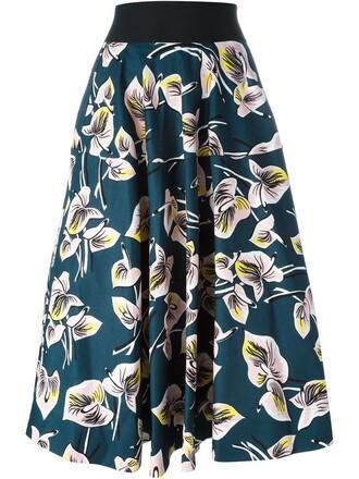 skirt pleated skirt pleated print blue