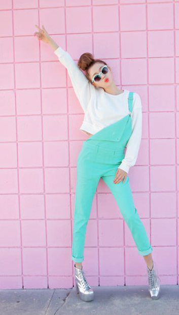 Fluorescent Color Denim Suspender Overall Trouser from bloomiful on Storenvy