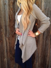 cardigan,top,jacket,style,sweater,tank top,jewels,jeans,bracelets,watch,michael kors,gold,necklace,t-shirt,shit happens,shirt,knitted cardigan,knitted sweater,grey cardigan,blouse,blond,beige,crochet,lace up,ripped jeans,classy,hot,party,winter outfits,winter jacket,knitwear,denim,skinny pants,streetwear,streetstyle,wintet,winter sweater,cream tan cardigan,tan cardigan,tan,long sleeve cardigan,long sleeves,chunky knit,grey,nude,hoodie,fall outfits,fashion,sweater cardigan,nude cardigan
