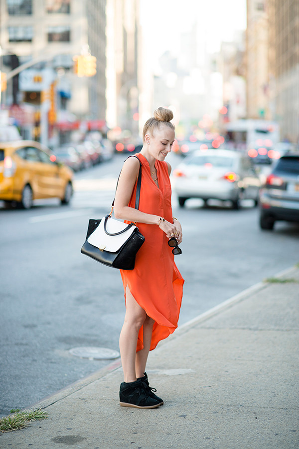 eat sleep wear dress shoes bag orange dress