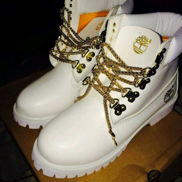 Shoes: white, gold, timberlands, timberlands, timberland ...