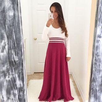 dress burgundy maxi burgundy burgundy maxi dress maxi maxi dress burgundy and white maxi white maxi long sleeve dress long sleeves long sleeve maxi