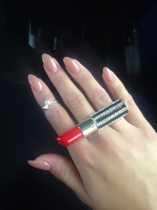 jewels lipstick bling nail polish ring