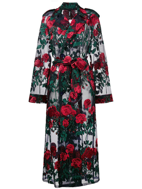 Adam Selman coat trench coat oversized embroidered rose women red rose embroidered