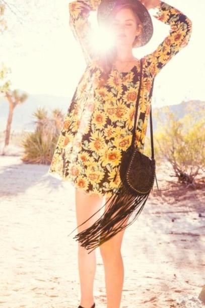 dress flowers sunflower summer dress yellow blouse summer