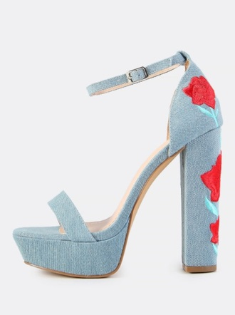 shoes girly ankle strap denim platform heels rose roses embroidered