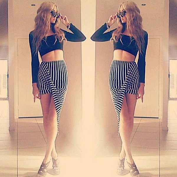 skirt stripes high low high waisted skirt high waisted black white stripe vertical stripes