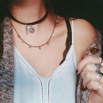 jewels golden gold black necklace black choker sun feather cute trendy