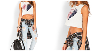 tank top crop tops top t-shirt usa american flag spring hipster jeans outfit casual bag custom crop tops