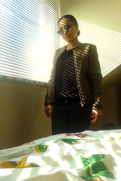 coat green bomber jacket fashion streetwear sunglasses