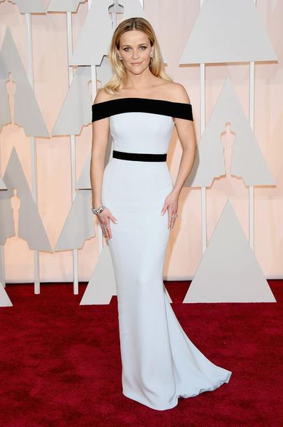 dress reese witherspoon oscars 2015 gown off the shoulder red carpet dress