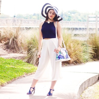 a walk in the park blogger blue heels stripes navy culottes white pants pearl hat