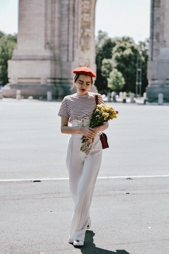 pants tumblr wide-leg pants white pants top t-shirt stripes striped t-shirt beret corset belt flowers french girl style sunglasses hat belt blogger blogger style high waisted shoulder bag