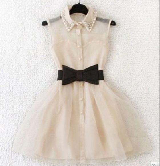 beige dress beige bow dress shoulder dress short dress black and beige button up dress