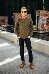 stay classic,blogger,jeans,jewels,sunglasses,menswear,mens sweater,mens shirt,mens cable knit jumper