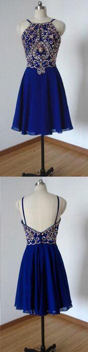 dress,sheer back,royal blue,crystal beads ruffle,above-knee,haltered,sweet 16 dress dress,aline,sleeveless