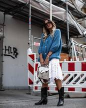 sweater,knitted sweater,button up,oversized sweater,lace skirt,midi skirt,ankle boots,handbag,sunglasses,earrings