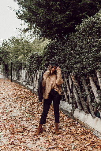wishwishwish blogger hat sweater jeans shoes jacket bag fall outfits beige sweater brown boots leather jacket