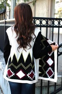 tribal pattern cardigan knitwear