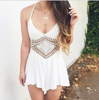 romper dress white white dress summer dress cute dress jewels boho boho chic boho jewelry bohemian jewelry necklace quartz crystal quartz layered gold necklace